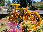 Marigold Bicycle: A memorial to a famous bike racer at his gravesite, Tzintzuntzan, Mexico
